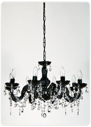 Marie Therese 8 Light Chandelier - Black, Pendants, Crystal Chandeliers, New Zealand's Leading Online Lighting Store