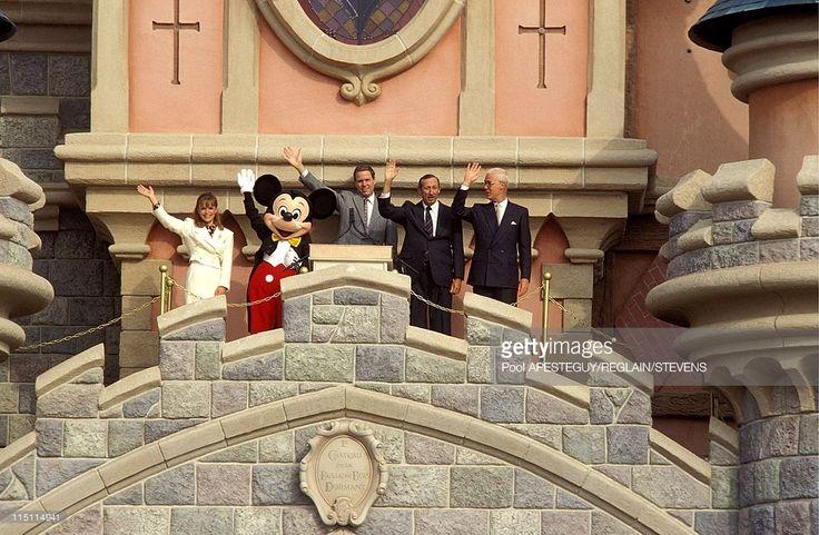First day in Eurodisney in Marne La Vallee, France on April 12, 1992 - Michael Eisner, Roy Disney, Robert Fitzpatrick.