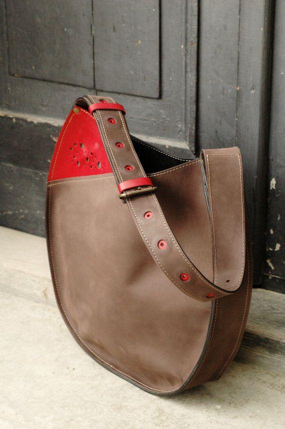 leather woman handmade handbag with long strap Lusi by ladybuq
