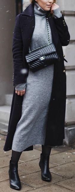 Grey midi dress + black trench coat.