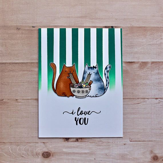 Love Card - I Love You Card - Relationship Card - Cat Card - Sushi Card - Sushi Cat Card - Naturally Myler - Etsy Seller - Food Lover Card - Sushi Lover Card - Cat Lover Card