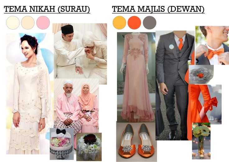 nikah - cream & pink. majlis - orange &kelabu silver. my own idea for our wedding soon.