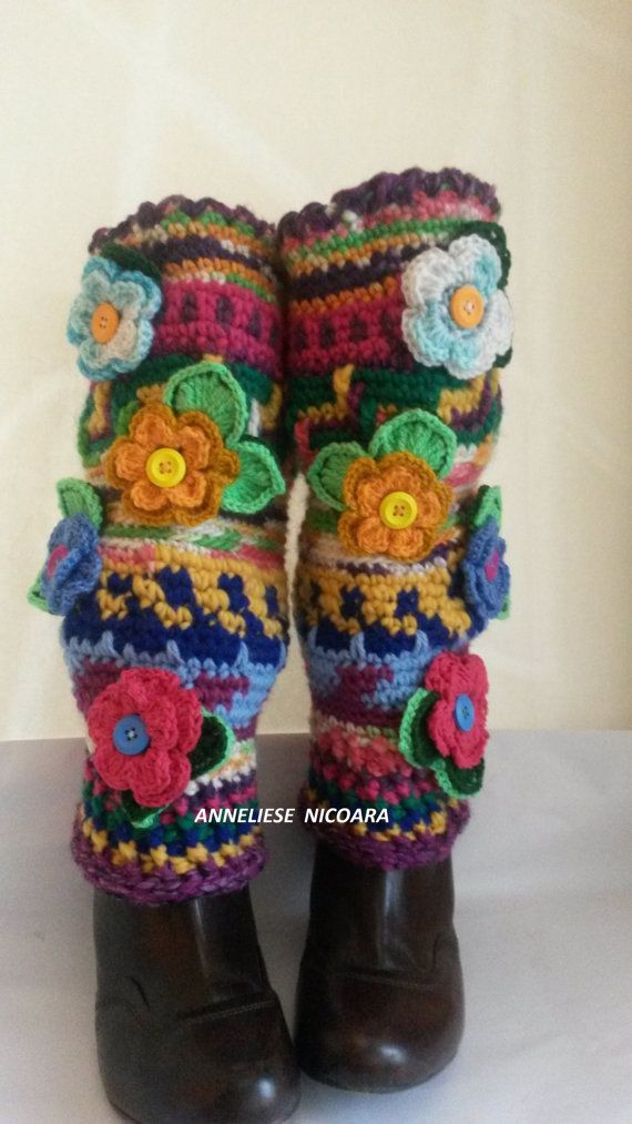 Crochet colorful leg warmers with by AnnesMagicCrochet on Etsy