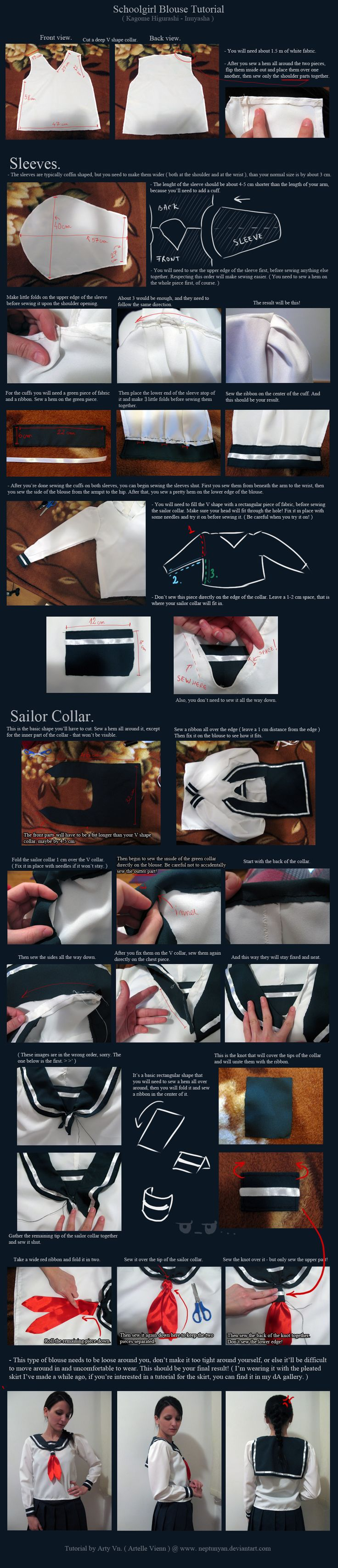 Schoolgirl Uniform Tutorial - Kagome Higurashi. by neptunyan on deviantART
