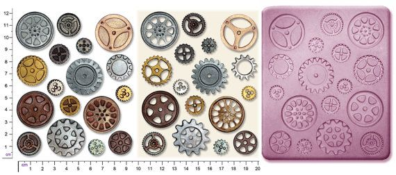 Steampunk - STEAMPUNK COGS & GEARS #1 Craft Sugarcraft Sculpey Silicone Rubber Mould by ArtycoUK