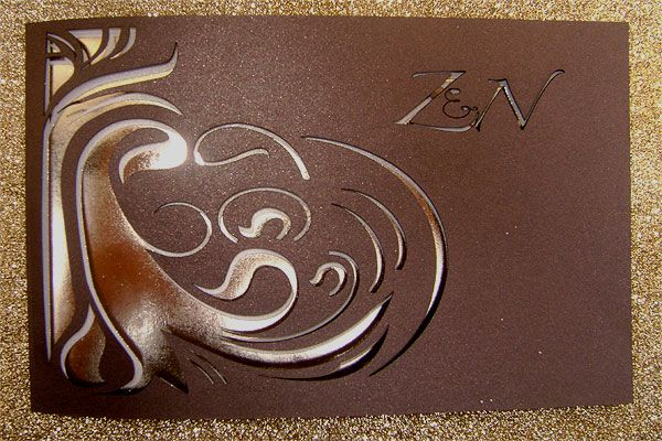 Ref ZN laser gold ( we can do any colour) www.weddingcards.co.za