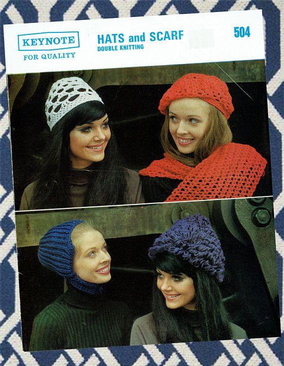 Original Vintage 1970s Ladies Hat Helmet Beret Knitting