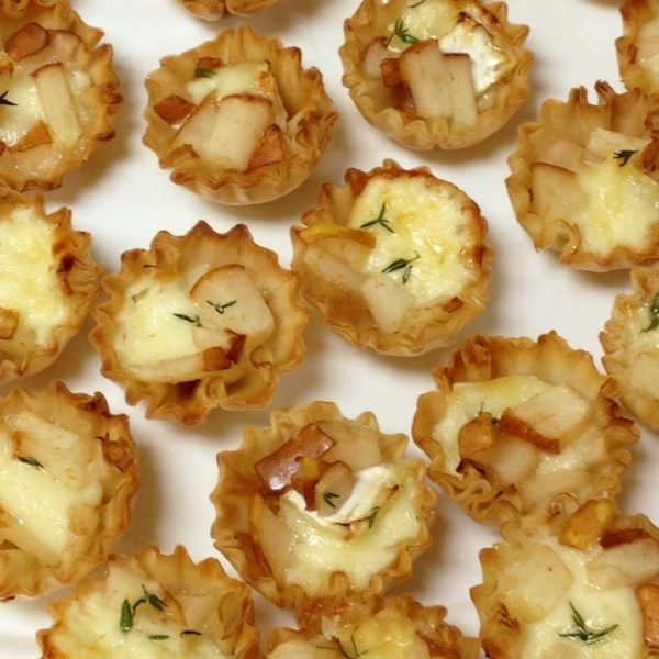 """Warm Brie and Pear Tartlets   """"These make a simple, delicious, and elegant appetizer. They impress every time!"""" #recipe #newyearseve #holidays #appetizer"""