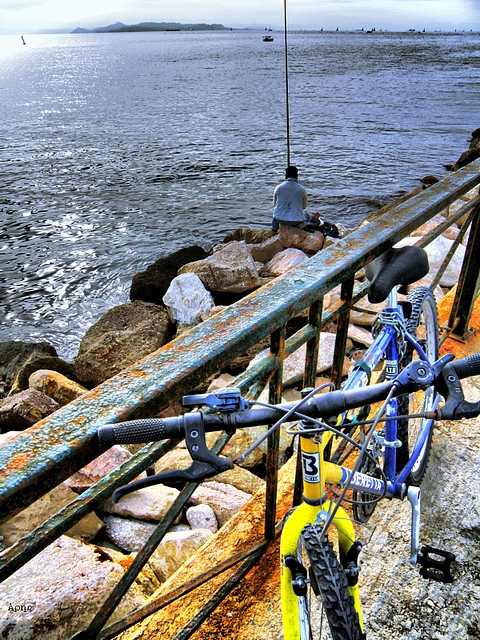 Fisherman + Bicycle, Alimos, Athens, Greece