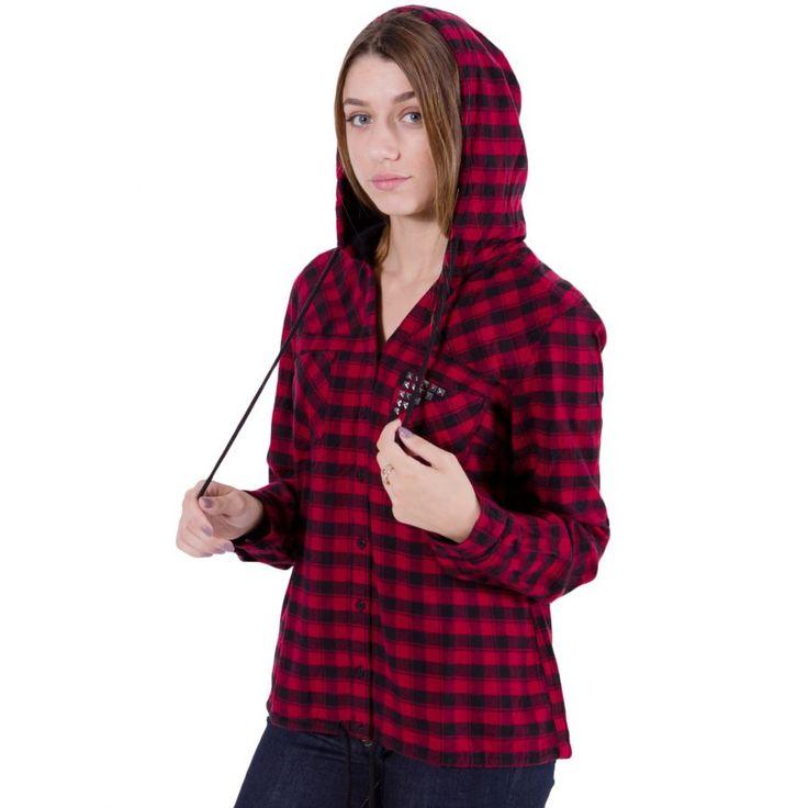 ATTRATTIVO Γυναικείο καρό φανέλα πουκάμισο, κουκούλα, κόκκινο-μαύρο