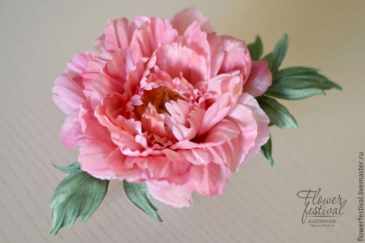 """Silkflowers. Купить Пион """"Coral charm"""" из шелка. Коралловый пион из шелка. Цветы из ткани - пион из ткани, пион из шелка. Цветы ручной работы Оксаны Чистовой. Ярмарка Мастеров - ручная работа. Handmade."""