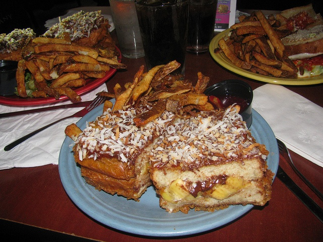 The Wookie Melt Caramelized Banana, Reese's Peanut Butter Cups, Sweet Cream Cheese, Crispy Battered to a golden Wookie brown. Coated in rich chocolate and peanut butter cake batter and covered with toasted Coconut. Mixed Berry Preserves for dipping.  At The Melt Bar and Grill Cleveland (Served only on the 4th of May Star Wars Day)- this seems wrong- I think!