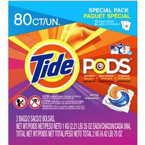Tide Pods Spring Meadow Scent Detergent + Stain Remover + Brightener, 80 count, 70 oz