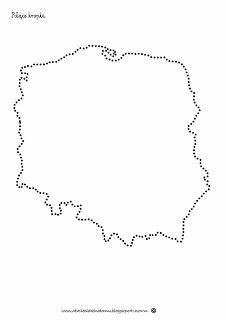mapa polski kontur szablon połącz kropki
