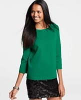 Love this Ponte Boatneck Top in black - Crafted in soft ponte with a hint of stretch, this travel ready top sports a cropped silhouette and confident colors, sleekly defined with metal side zippers. Boatneck. 3/4 sleeves. Exposed metal side zippers.