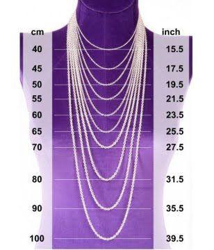 Tavola per lunghezze misure collane