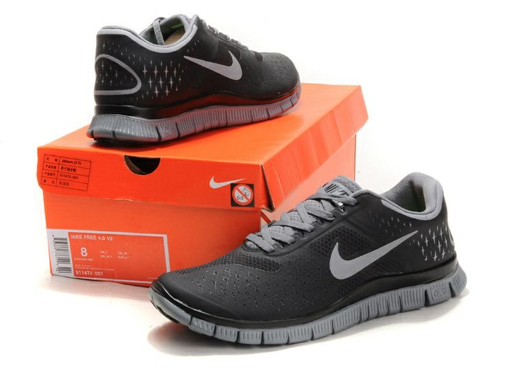 lowest price 68fa5 2d5c1 Cool Grey Reflective Silver Black Nike Free 4.0 V2 Mens Running Shoes  Black Womens Sneakers  Black Sneakers For Womens  Pinterest  Running  shoes…