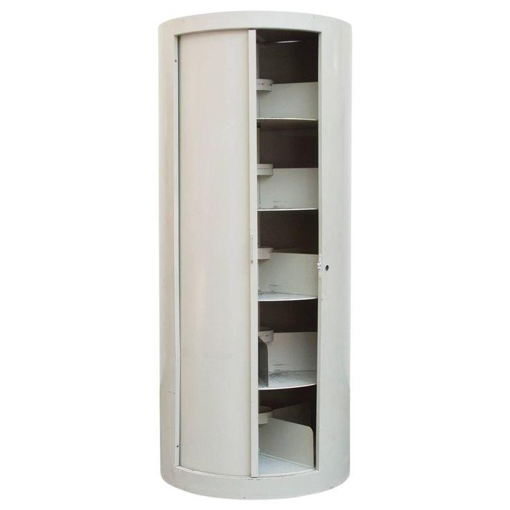 ahrend industrial grey enameled metal round bookshelf cabinet