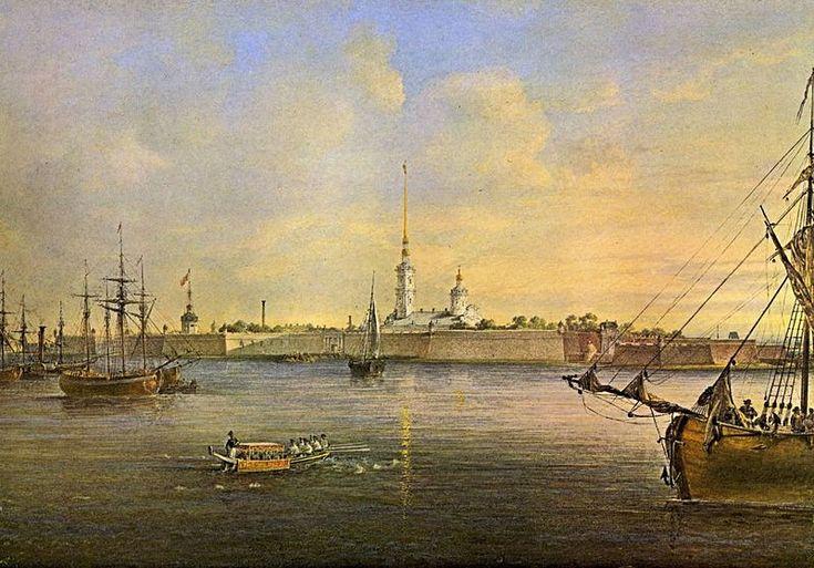 В. С. Садовников. Вид Невы и Петропавловской крепости (акварель, 1847).