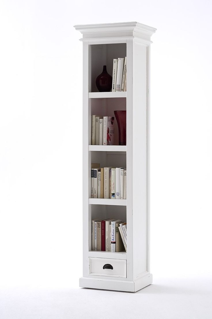 Belgravia Painted Tall Narrow Bookcase With Drawer