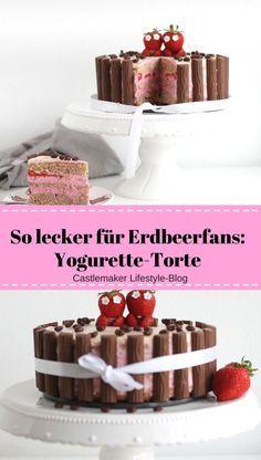 So erfrischend lecker und schokoladig: Yogurette Torte mit einer köstlichen Quark-Sahne-Füllung und vielen Erdbeeren, Erdbeerkuchen Rezept Erdbeertorte einfach schnell lecker wiener boden