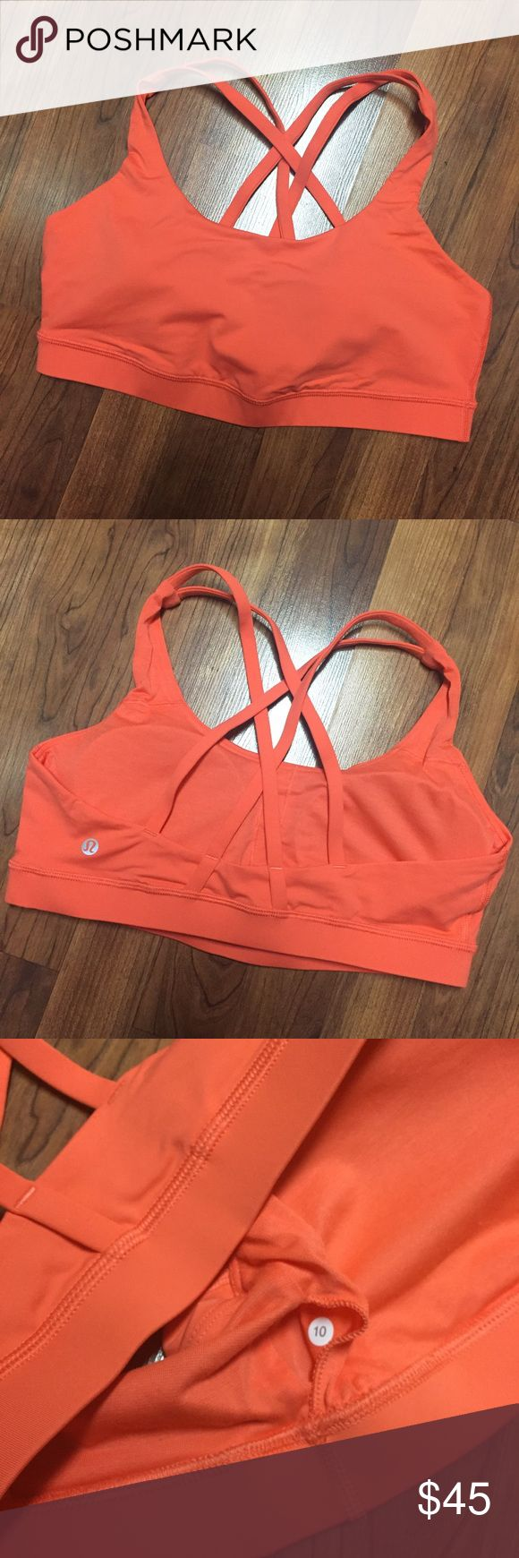 Energy Sport Bra Excellent Condition Worn 1x - Rip Tag has been removed but size for confirms 10.  Padded Inserts included!  This is Orange to me but I believe this is Cape Red lululemon athletica Intimates & Sleepwear Bras
