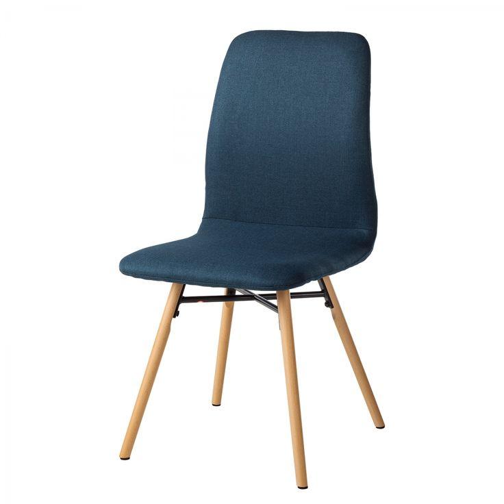 Gestoffeerde stoelen Daleras (2-delige set) - geweven stof/massief beukenhout - Donkerblauw/beukenhout