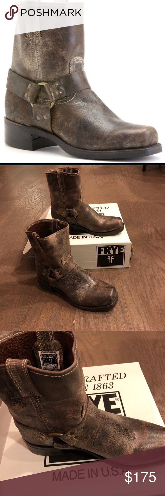 NWT!! Never worn Frye Harness boots size 10.5 NWT!! Never worn Frye Harness boots size 10.5 in chocolate with original box Frye Shoes Boots