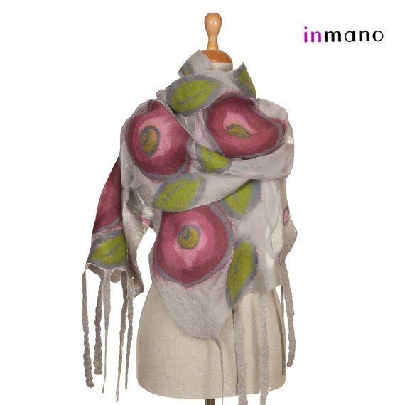 nuno felted wrap scarf light gray and roses silk and by inmano