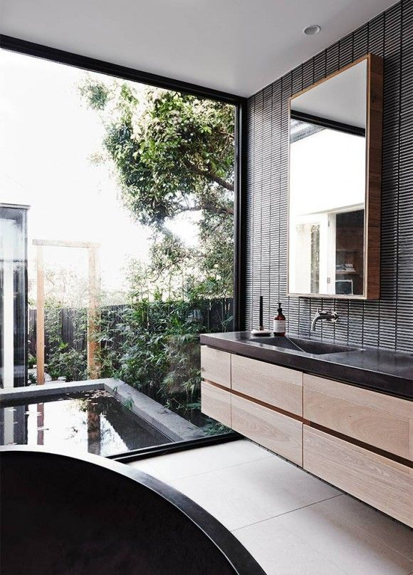 BATHROOM - TIMBER CABINET AND TILES