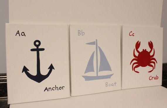 Anchor, boat, and crab nautical nursery decor, boy/girl nautical nursery decor, abc nautical paintings beach house wall decor beach theme on Etsy, $48.00
