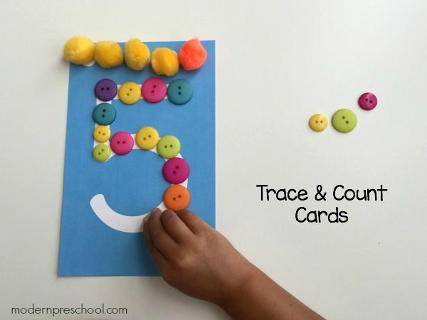 Printable trace and count number cards for preschoolers! Includes numbers 1-10 from Modern Preschool.