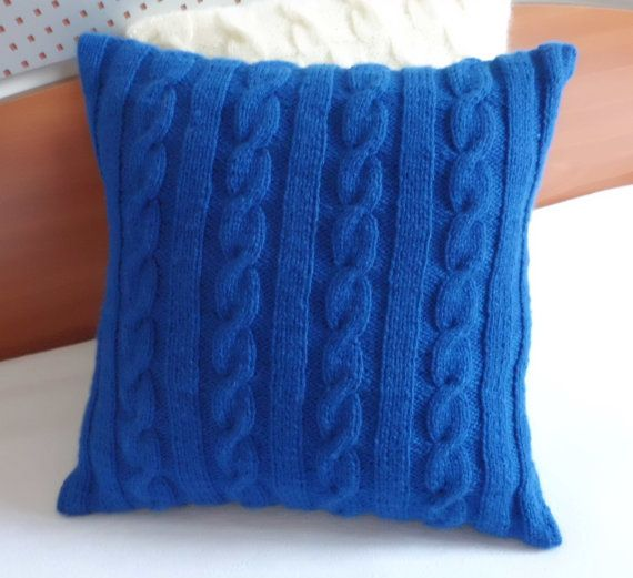 Cable Knit Royal Blue Knitted Pillow Cover Throw Pillow Hand Knit Pillow Case 16x16 Decorative Couch Pillow Smart And Romantic Decor Items
