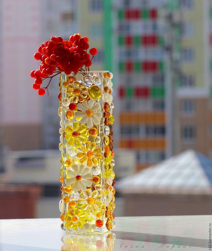 Купить ваза из стекла, фьюзинг Вечное цветение - комбинированный, Фьюзинг, стекло, ваза, ваза для цветов