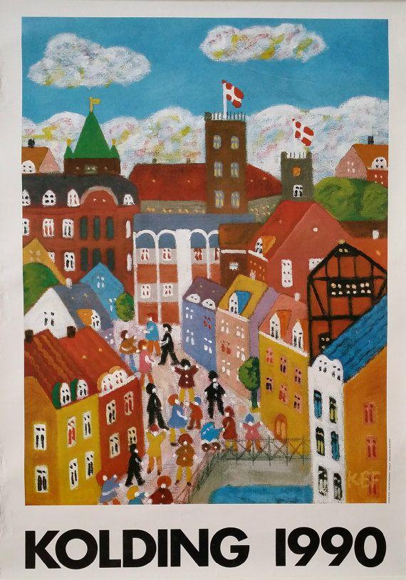1990 Kolding Denmark Tourist Advertising Poster by OutofCopenhagen