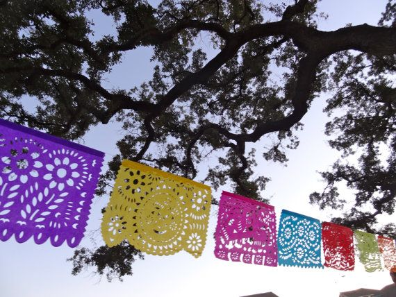 All Occasion Tissue Paper Papel Picado Banner for your Fiesta - Birthday, Bridal Shower, Couple's shower, Rehearsal Dinner, Any Fiesta. $13.00, via Etsy.