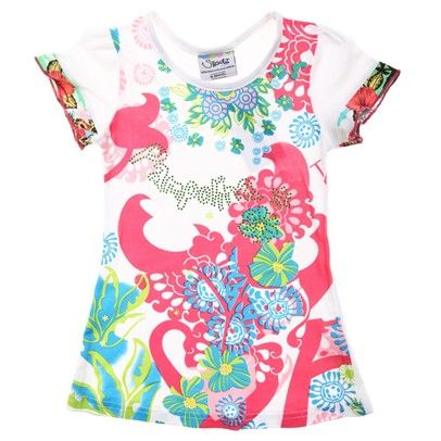 a White Tee With Maroon/Green Floral Pattern-AJ57010-White-Maroon-Green $13.00 on Ozsale.com.au
