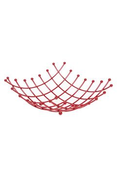 Corbeille à fruits carrée en métal rouge, 27 x 27 x H 10 cm