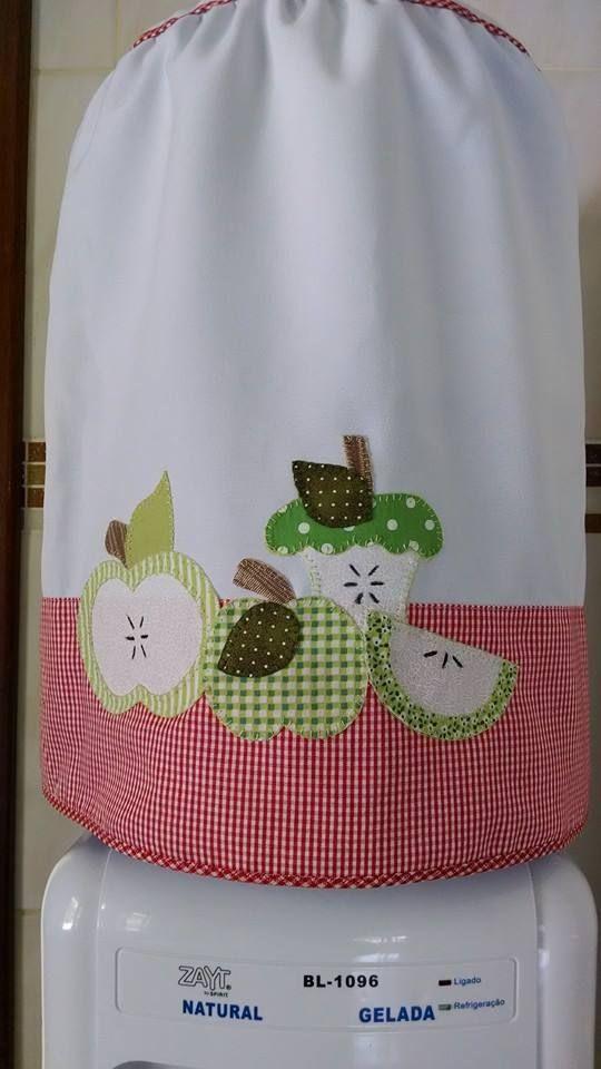 Capa para bombona, maçãs verdes, patch apliquê.