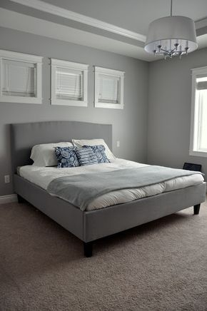 diy bed frameheadboard the grey upholstery and wall color with white accents - Diy Knigin Kopfteilplne