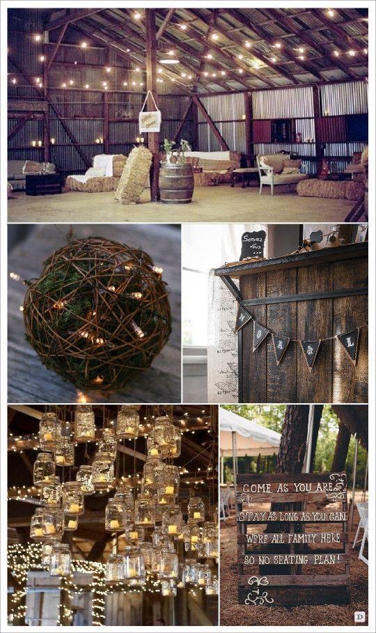 mariage rustique champêtre decoration de salle bottes de paille palette en bois guirlande fanions retro boule de rotin
