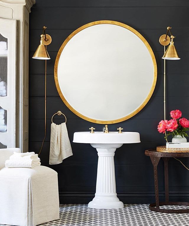 Loving this black shiplap wall + oversized mirror concept by @onekingslane   Also this weekend sales picks are up on Beckiowens.com.