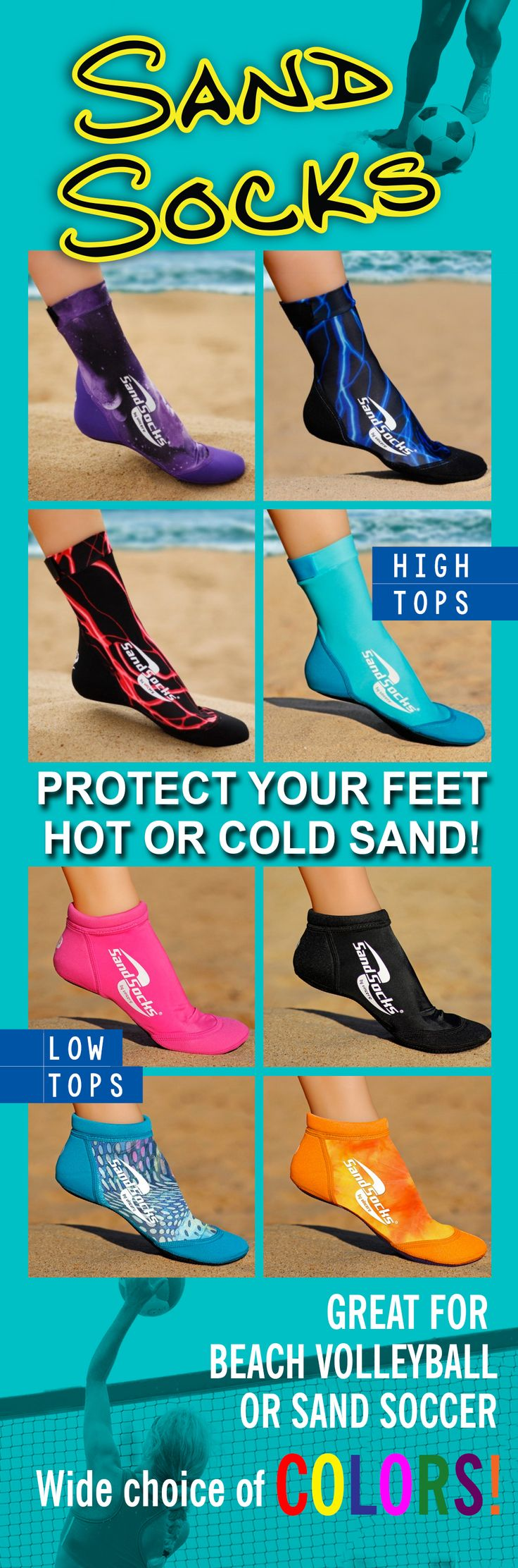 Be game ready, jump higher, move faster and protect your feet. Enjoy a barefoot feel with breathable, light, quick drying Sand Socks. Perfect for sand sports or the beach.