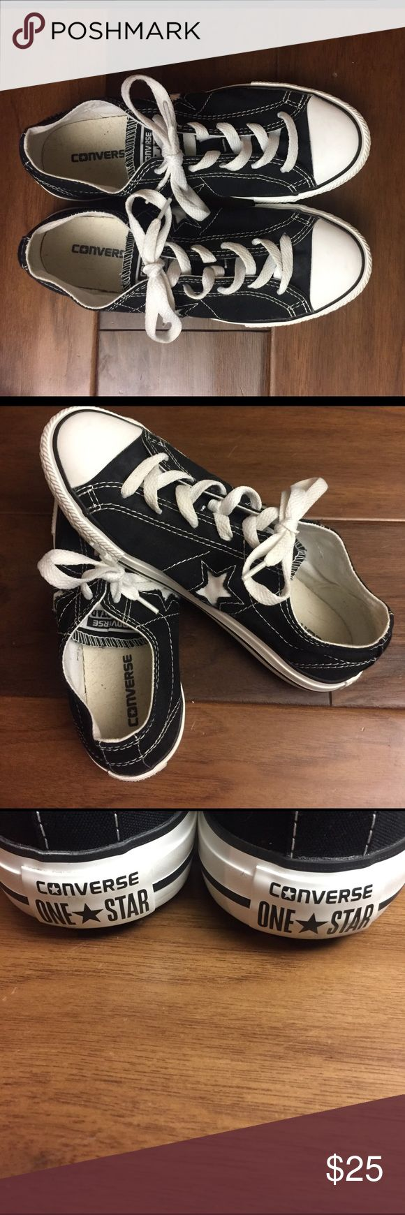 Converse one star shoes   Junior US 4 Black converse with star. Junior US 4.             EUC. Very clean Shoes Sneakers