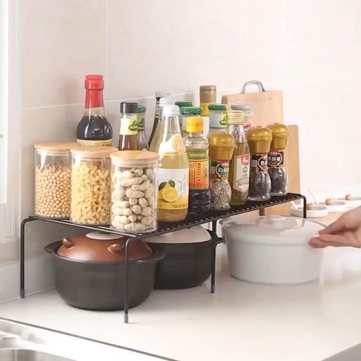 Stackable Kitchen Cabinet And Counter Shelf Organizer White Video Kitchen Storage Small Bathroom Storage Small Kitchen Cabinets