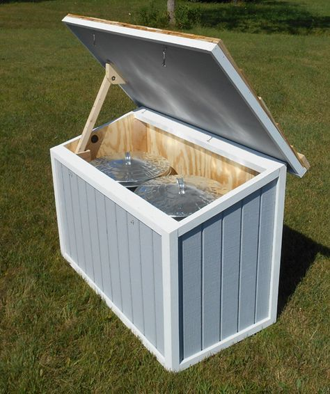 Good feed storage for animals that won't need measured foods, like chickens and geese.