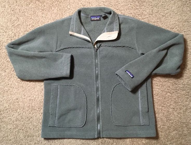Patagonia Fleece Jacket Women's Synchilla Olive Green Full Zip 90's Vintage USA #Patagonia #FleeceJacket #Casual