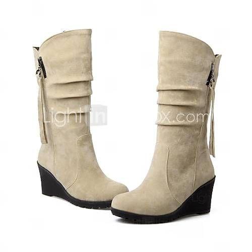 chaussures pour femmes à bout rond talon compensé affluent bottes mi-mollet plus de couleurs disponibles de 1788745 2016 à €14.70