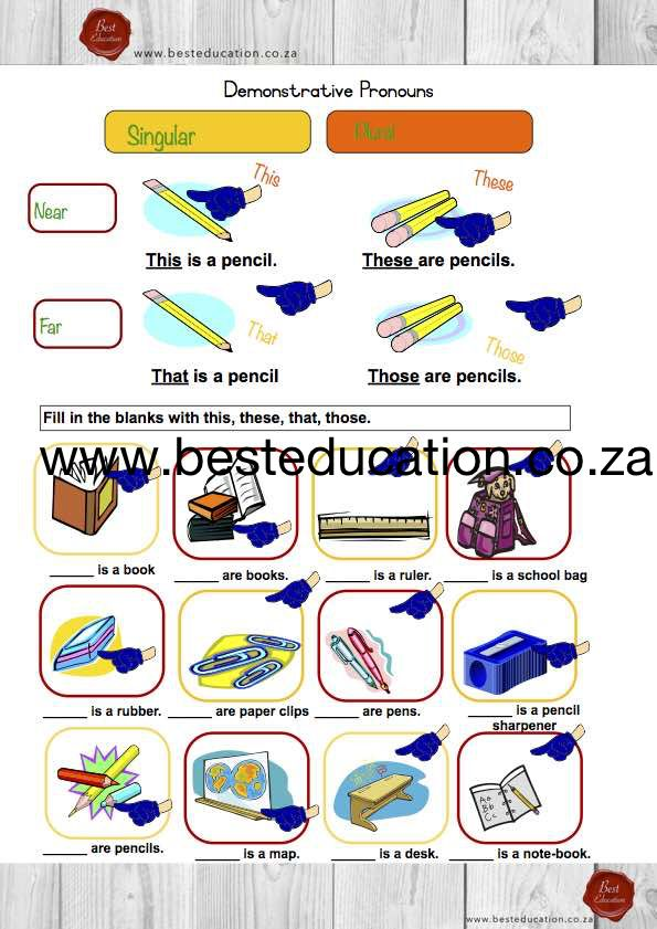 Demonstrative Pronouns -This ,that ,those ,these - Grade 6 English www.besteducation.co.za