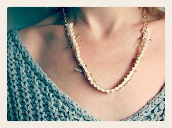 Mini Pompon Ribbon Necklace by SKRIN on Etsy, €15.00